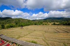 Berge, der Himmel und trocknen Felder Stockfotografie