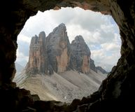 Berge Drei Zinnen oder Tre Cime di Lavaredo Dolomitens Stockfotos