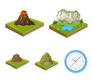 Berge, Felsen und Landschaft Entlastung und Berge stellten Sammlungsikonen Vektorsymbolauf lager der Karikaturart isometrisches e Stockfoto