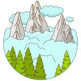 Berge gestalten in den Wolken auf Zyklusform landschaftlich lizenzfreie abbildung