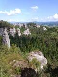Berge im Holz Lizenzfreie Stockfotos