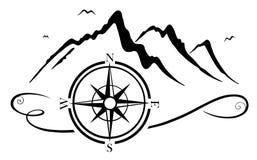 Berge mit Kompass stockfoto