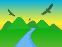Berge mit Schattenbildern von Adlern vektor abbildung