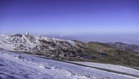 Berge Sierra Nevada mit Seen, Satellit, Andalusien, Spanien lizenzfreies stockbild