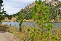 Berge und alpiner See Stockbild