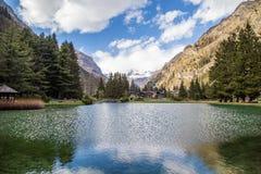 Berge und Bäume reflektieren sich in einem kalten See in Gressoney Stockfotografie