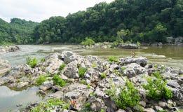 Berge und Fluss-Landschaft Stockfotos