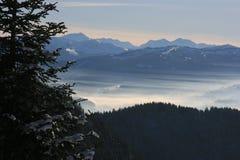 Berge und forrest über Nebel Lizenzfreies Stockbild