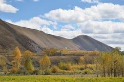 Berge und Holz im Herbst lizenzfreie stockfotos
