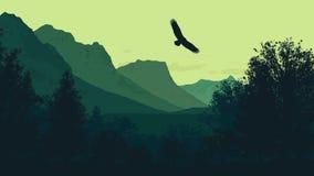 Berge und Natur, Wald, ruhiges Wetter und Harmonie Lizenzfreies Stockbild