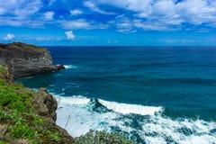 Berge und Ozean auf Nordatlantikküste, Madeira stockbilder