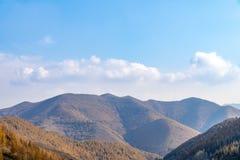 Berge und Wälder im Herbst lizenzfreie stockfotografie