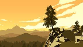 Berge und Waldlandschaftsillustration Stockfoto