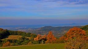 Berge, Wald, blauer Himmel Stockfotografie