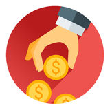 Übergeben Sie das Halten der Geldmünze, des roten Schattens und des flachen Themas Stockbilder