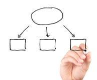 Übergeben Sie das Zeichnen eines leeren Diagramms, das auf weißem Hintergrund lokalisiert wird Lizenzfreie Stockfotos