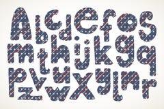 Übergeben Sie gezogene Buchstaben im amerikanischen Sternenbanner im Muster Lizenzfreie Stockfotografie