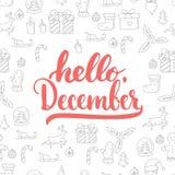 Übergeben Sie gezogene Typografiebeschriftungsphrase hallo, Dezember lokalisierte auf dem Weihnachtsmusterhintergrund Spaßbürsten Lizenzfreie Stockbilder