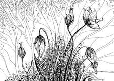 Übergeben Sie gezogene Vektorillustration mit Gekritzelphantasieblumen Stockbild