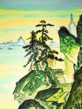 Übergeben Sie gezogenes Bild, in den Traditionen der alten chinesischen Kunst Stockbild