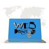Übergeben Sie gezogenes Webdesign auf Laptopschirmcomputer und -Weltkarte Lizenzfreie Stockfotografie