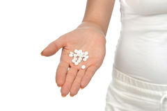 Übergeben Sie offene Palmenschmerzmittelpillen-Tablettenmedizin an halten Stockbilder