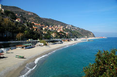 Bergeggi, Italian Riviera. This is a little village, once of fisherman, now well known for his beaches, in the Italian Riviera Royalty Free Stock Photo