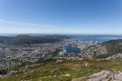 bergen над взглядом стоковые фотографии rf