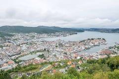 bergen Норвегия Ландшафт с гаванью Стоковое Изображение