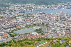 bergen Норвегия Ландшафт с гаванью Стоковые Изображения
