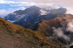 Bergen av Korsika, trekking rutt GR-20 Arkivfoton