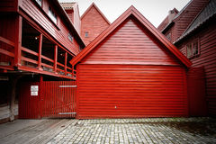 Bergen Brygge in red Royalty Free Stock Photo
