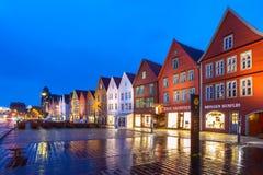 Bergen Bryggen alla notte Immagini Stock Libere da Diritti