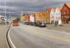 Bergen, Bryggen, lungomare, Norvegia Fotografia Stock