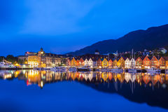 Bergen Bryggen at Night. The Bryggen Hanseatic Wharf across the fjord at night, a UNESCO World Heritage site Stock Photo