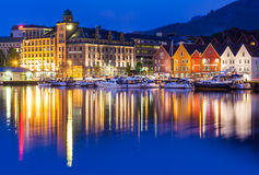 Bergen Bryggen at Night Royalty Free Stock Photo
