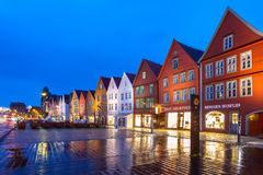 Bergen Bryggen at Night Royalty Free Stock Images