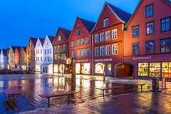 Bergen Bryggen at Night Royalty Free Stock Photography