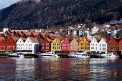bergen bryggen norway royaltyfria bilder