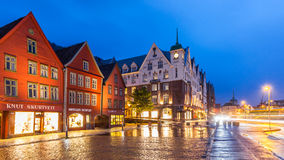 Bergen Bryggen Panorama. The Bryggen Hanseatic Wharf at night, a UNESCO World Heritage site with shops, hotels, and restaurants on July 11, 2015, in Bergen Royalty Free Stock Photography