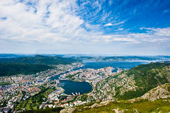 Bergen city. View over Bergen city from mount Ulrikken Royalty Free Stock Images