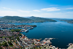 Bergen city. Veiw from one of the surrounding mountains in the Norwegian city Bergen Stock Images
