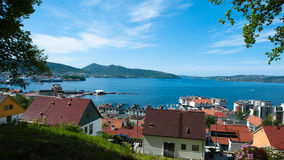 Bergen city. View over Bergen from the road named fjellveien by the side of the mountain Stock Photos