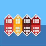 Bergen City avvista le icone Punto di riferimento della Norvegia Vista delle costruzioni storiche Costruzioni variopinte di legno illustrazione di stock
