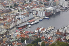 Bergen city center and Vagen harbor. Mount Floyen viewpoint. Nor Stock Images