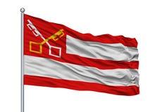Bergen City Flag On Flagpole, die Niederlande, Noord Holland, lokalisiert auf weißem Hintergrund stock abbildung