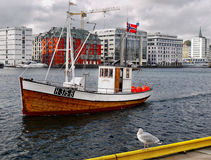 Bergen City Harbor Fishing Boat Royalty Free Stock Images