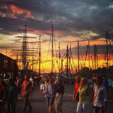 Bergen City nell'ambito della corsa alta della nave Immagini Stock Libere da Diritti