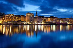 Bergen city in Norway. Night panorama Stock Photos