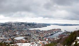 Bergen city, Norway. Bergen seen from fløyen. Picture from late winter 2018 Stock Photography